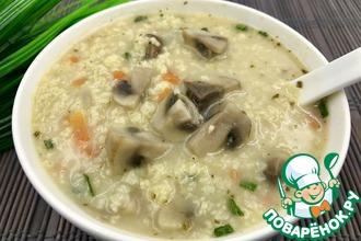 Рецепт: Постный суп с грибами и пшеном