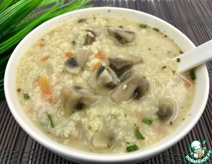 Постный суп с грибами и пшеном