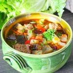 Суп с баклажанами и консервированной фасолью