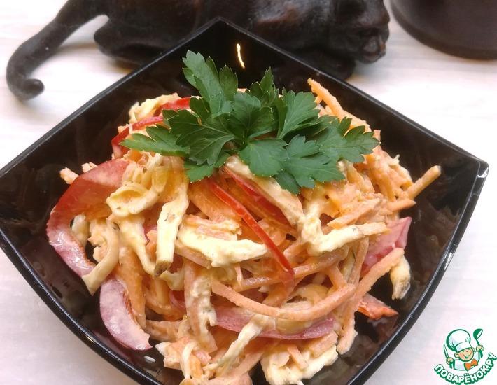 Рецепт: Салат Разноцветная соломка
