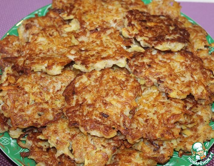 Рецепт: Картофельные оладьи с мясом, ленивые драники