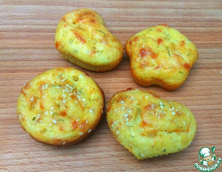 Рецепт: Творожные маффины с сыром