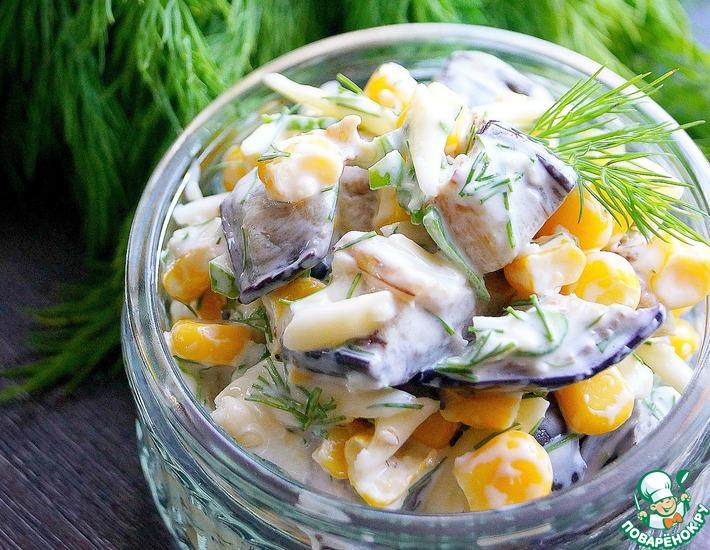 Рецепт: Салат баклажановый с кукурузой