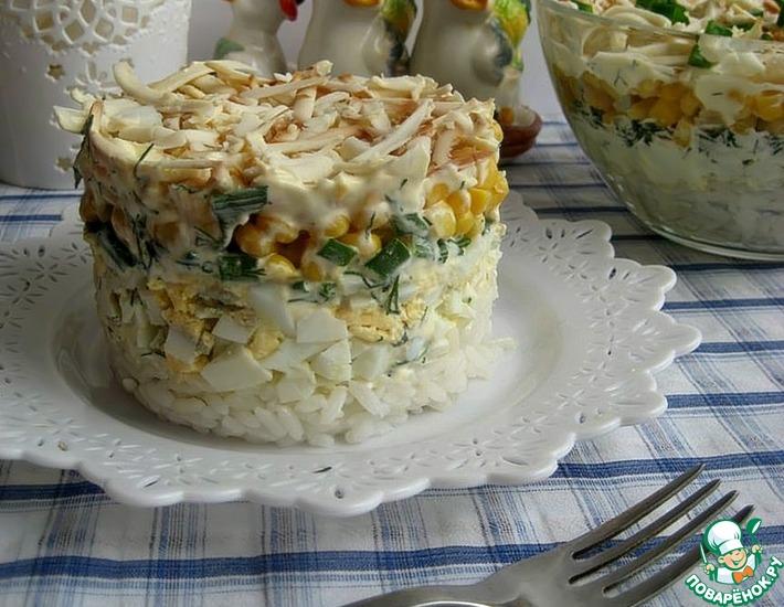 Рецепт: Салат с рисом и яйцами