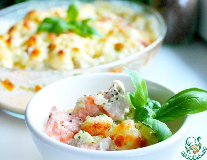 Рецепт: Запеканка из цветной капусты и рыбы