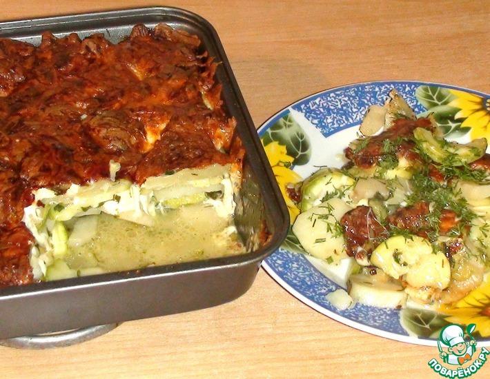 Рецепт: Картофель, запеченный с кабачками под сыром