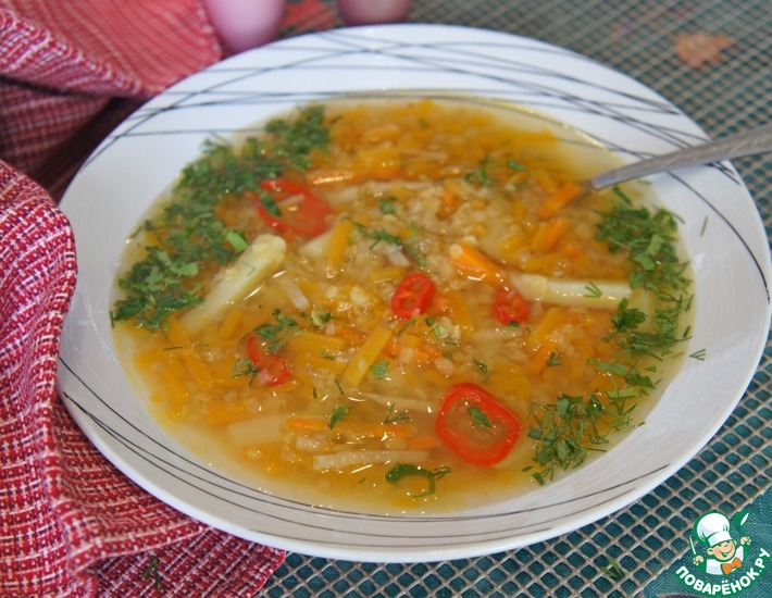 Рецепт: Чечевичный суп с тыквой