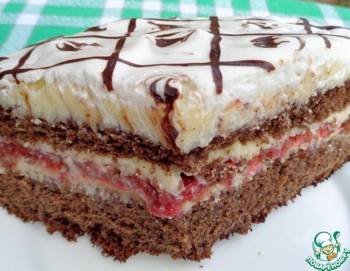 Рецепт: Черемухово-клубничный торт