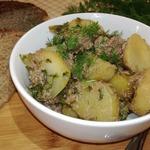 Тушёный картофель с куриной печенью