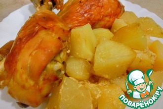 Рецепт: Сочная курица с картошкой в духовке