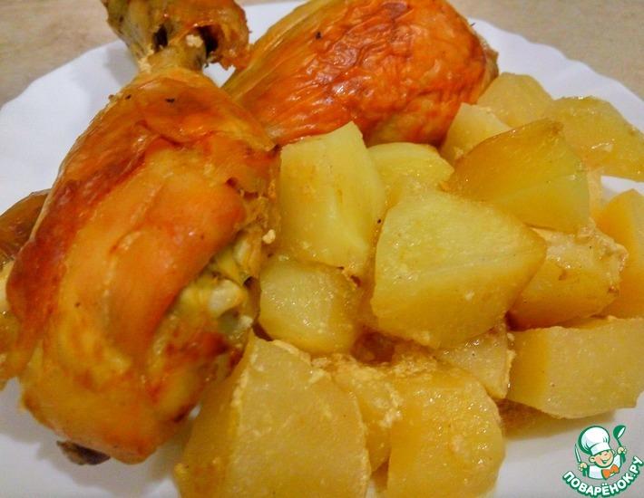 Рецепт: Сочная курица с картофелем в духовке