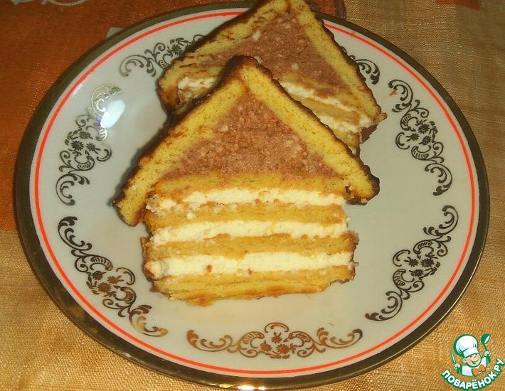 Рецепт: Творожный десерт с печеньем Избушка