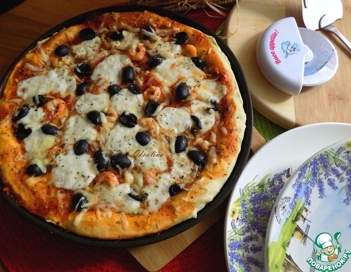 Рецепт: Пицца с креветками и сыром