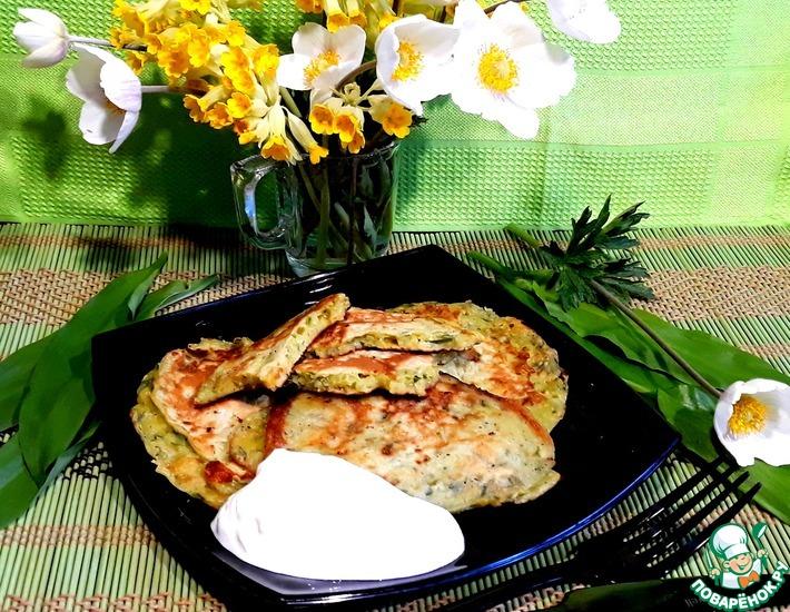 Рецепт: Картофельно-сырные оладьи с черемшой