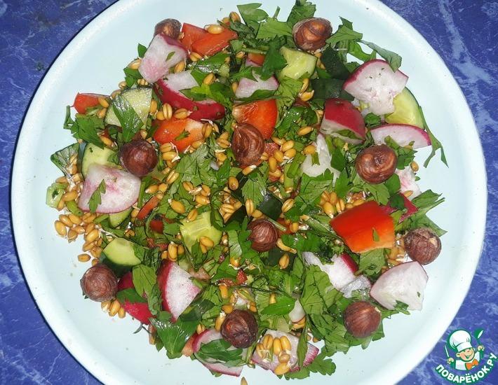 Овощной салат с пророщенной озимой пшеницей