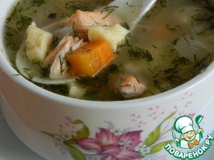 Наслаждаемся рыбным супом с нежнейшими клецками.