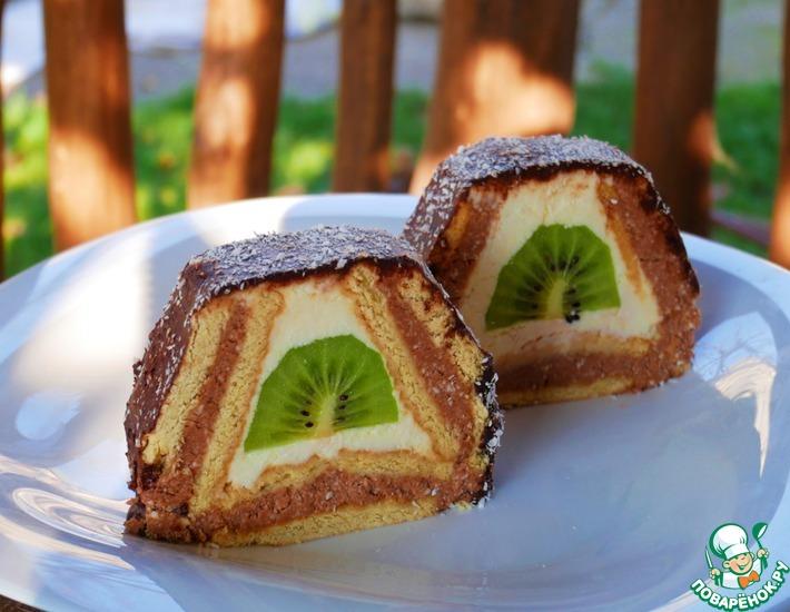 Рецепт: Торт из печенья Домик