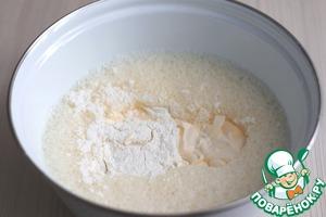 Взбить яйца в легкую пену, затем добавить 40 гр. крахмала, добавить муку (40 гр.), добавить майонез (90 гр.), добавить 1 ч. ложку соли (без горки). Смесь взбить до однородного состояния.