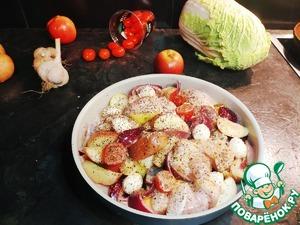 Разогреваем духовой шкаф до 200 градусов, берем форму, смазываем оливковым маслом и перекладываем в нее курицу с овощами. Добавляем моцареллу, солим, перчим и добавляем любимые специи ( у меня это базилик), Отправляем форму в духовку на 30 минут.