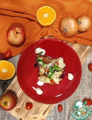 После того, как курочка и овощи приготовились, достаем из духовки, посыпаем свежей зеленью и с удовольствием кушаем! Приятного аппетита!