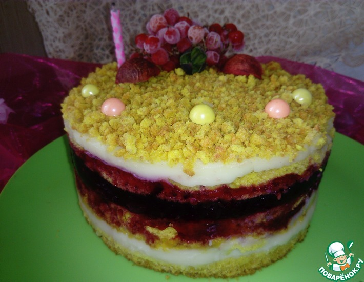 Рецепт: Торт Желейная Вишня