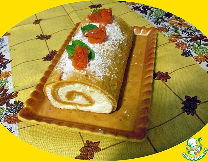 Рецепт: Десертный морковный рулет
