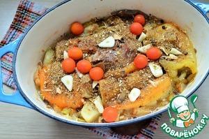 Поместить в холодную духовку и запекать 1 час при 180 градусах.   Затем добавить чеснок и черри, грибы сушёные молотые и лавровый лист,   посолить по вкусу. Запекать ещё 1 час.