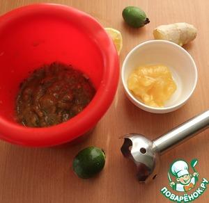 Измельченные ингредиенты положить в чашу блендера, пробить или же пропустить ч/з мясорубку. Добавить мед, ещё раз пробить. Попробовать на вкус, по необходимости добавить еще меда.