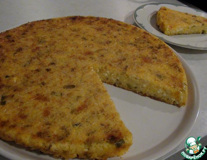 Рецепт: Кукурузный пирог Диетический с луком-пореем