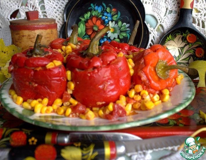 Рецепт: Перцы, фаршированные фрикадельками