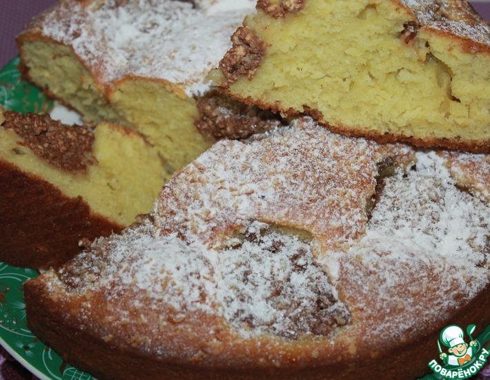 Рецепт: Пирог на кефире с творожными шариками