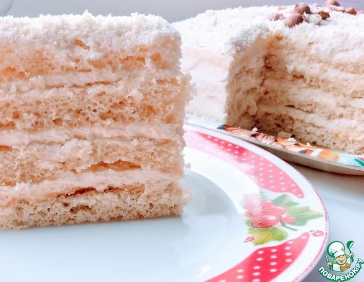 Рецепт: Нежный торт Молочная девочка
