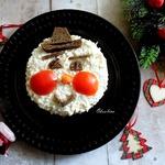 Новогодний салат со шпротами Снеговик