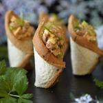 Тарталетки с салатом из фасоли