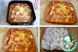 Выпекать пирог в предварительно разогретой до 180С духовке 45-50 мин.   до сухой лучины (следите за своей духовкой).   Приостывший пирог освободить из формы, смазать жидким медом или джемом.   Остывший пирог присыпать сахарной пудрой.
