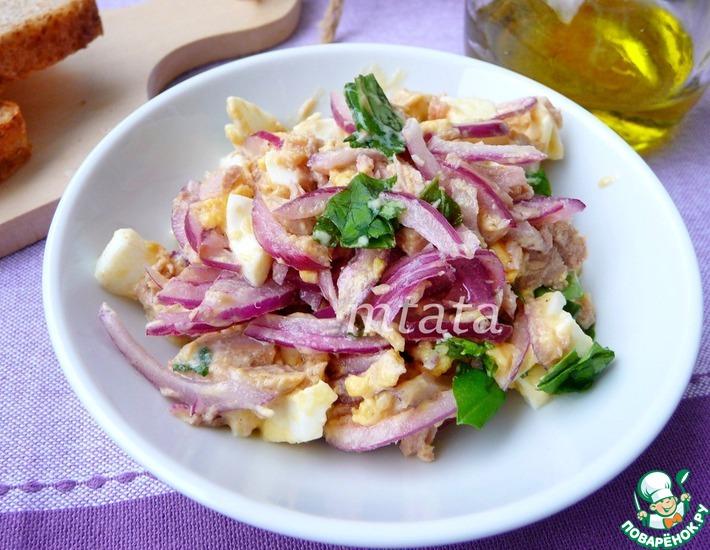 Рецепт: Салат с тунцом и яйцом