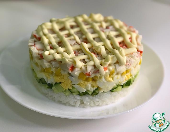 Рецепт: Новогодний салат из крабовых палочек