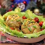 Мясные колобки с картофельно-грибной начинкой
