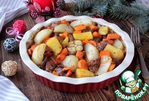 Мясо, картофель и особенно морковь в этом блюде получается просто божественное.