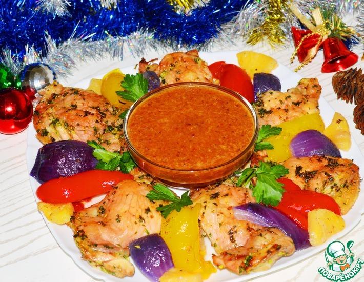 Рецепт: Курица, запеченная с овощами в кисло-сладком соусе