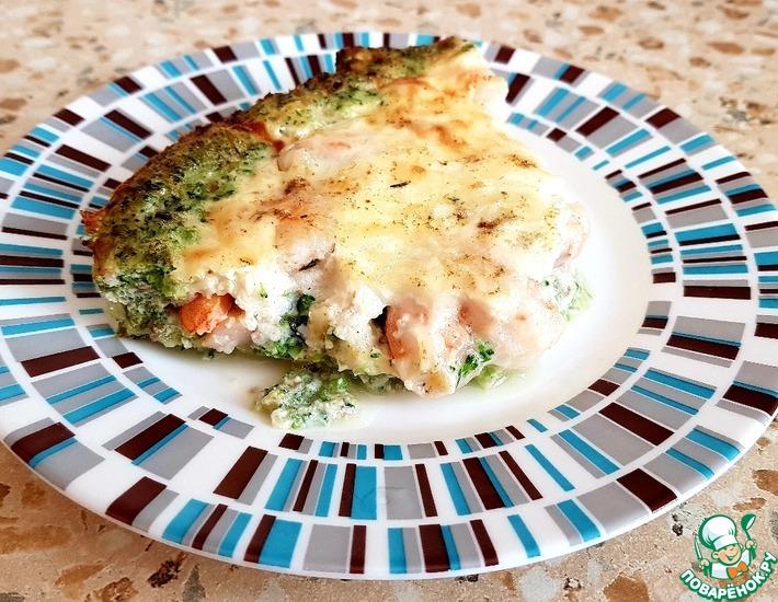 Рецепт: Запеканка с креветками и брокколи