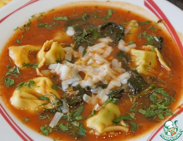 Рецепт: Итальянский томатный суп с тортеллини
