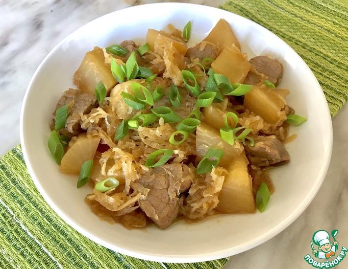 Рецепт: Блюдо из дайкона с мясом
