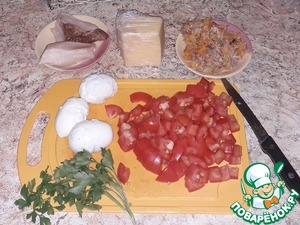 Here's the necessary products.  Once again-originally, the salad was made with what was available.  Eggs fresh, homemade and very clean tijelo, so for their appearance sorry. Herbs for decoration take any.