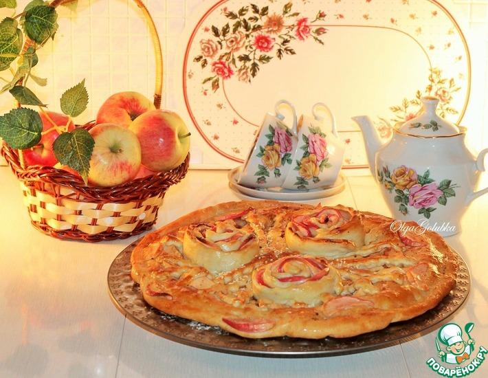 Рецепт: Двухслойный яблочно-сливовый пирог с корицей