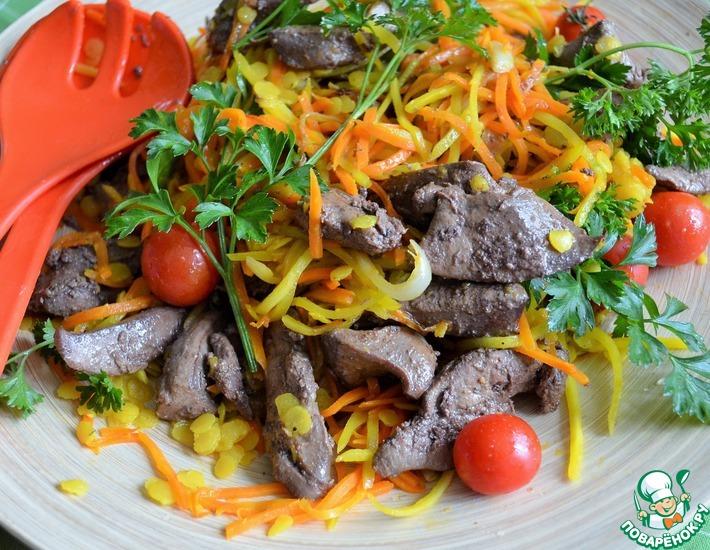 Рецепт: Теплый салат с печенью индейки