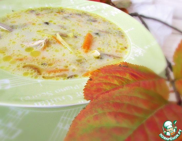 Рецепт: Суп с плавленым сыром и шампиньонами