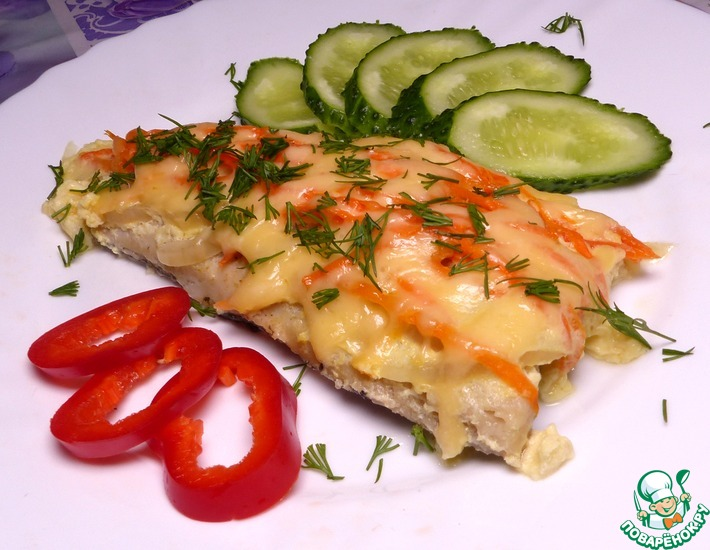 Рецепт: Филе хека с овощами в духовке