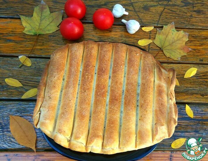 Рецепт: Лепёшка с сыром, зеленью и чесноком
