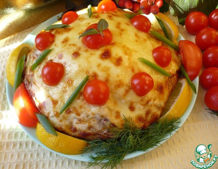 Рецепт: Пирог из лаваша под сырной корочкой